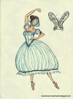 Giselle/La sylphide ballet costume design.  bizuteriowe-handmade.blogspot.com