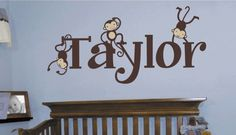 Personalized monkey name decal for jungle theme