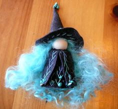 Turquoise and Blackk Witch Peg Doll Waldorf Wooden by BRIDGITSBELL