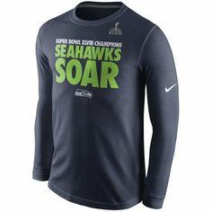 914f2e525 Nike Seattle Seahawks Super Bowl XLVIII Champions Celebration Local Long  Sleeve T-Shirt - College Navy