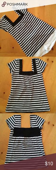 Black and white stripe with lace detail top New with out tags. Black and white top with lace detail in the front. Cute low square neck line in the front and back. Next Era Couture Tops Tees - Short Sleeve