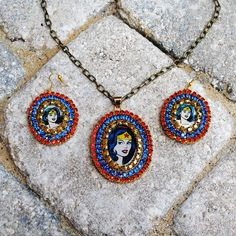 Wonder Woman Crystal Trimmed Necklace and Earring Set. $45.00, via Etsy.