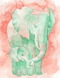 Coral and Mint Baby Elephant and Mom by by PinkPoppyWatercolors, $23.00