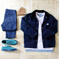 Outfitgrid - Norse Projects pants / Stampd tee / COS sweat / Carhartt x Adam Kimmel jacket / Converse x Stussy shoes / Nudie beanie