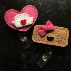 Nursing ID Badge Clip Bundle Handmade retractable felt ID Clips. Price is firm on this one Accessories Key & Card Holders