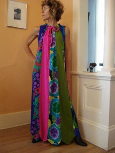 1960s Tropical Neon Trapeze Hippie Festival Maxi Dress One Size Fits All 2012651.
