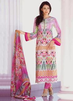 Multicolored Lawn Cotton Straight Suit
