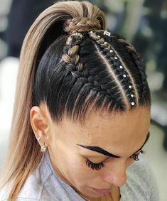 90 easy hairstyles for naturally curly hair - Hairstyles Trends Cool Braid Hairstyles, Easy Hairstyles For Long Hair, Baddie Hairstyles, Braids For Long Hair, Pretty Hairstyles, Athletic Hairstyles, High Ponytail With Braid, Wedding Hairstyles, Bouffant Hairstyles