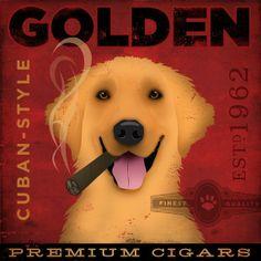Golden Retriever Cigar #cigar #golden #retriever #dog #art #design #etsy $80