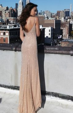 Long nude glitter dress backless - LadyStyle