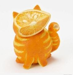 Orange cat... now this would be amazing. I'll just stick with drawing a kitty face on an orange with a sharpie.
