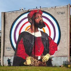 'Portait of an african man with target' by ozmo for Baltimore Open Walls 2 2014