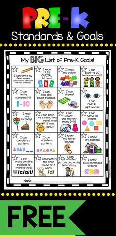 Pre-K Goals Chart - FREEBIE — Keeping My Kiddo Busy My kindergarten incentive kit has been such a hit, I went ahead and created one for my Pre-K friends. We all know as teachers that the standards drive our instruction, but getting our students exci… Preschool Assessment, Kindergarten Readiness, Preschool Learning Activities, Preschool At Home, Preschool Lessons, Toddler Learning, Preschool Kindergarten, Pre K Activities, Kindergarten Checklist