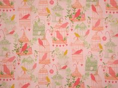 Peachy Pink with Green Bird Cages Print Pure Cotton Fabric--One Yard