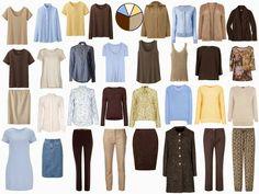 Brown, tan, and blue wardrobe
