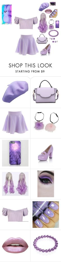 """""""Purple Peep"""" by pintch-me-i-punch-you ❤ liked on Polyvore featuring Urban Expressions, Concrete Minerals, WearAll, Huda Beauty, Bling Jewelry and Pori"""