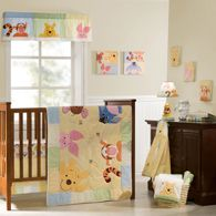 "REGISTERED - FIRST CHOICE FOR NURSERY Winnie the Pooh ""Peeking Pooh"" Crib Bedding Set (quilt, 2 fitted sheets, dust ruffle, and 3 soft wall hangings featuring Pooh, Piglet and Tigger) {Babies R Us - $179.99}"
