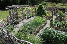 Organic garden fence inspiration and quick how-to for log-bordered raised beds from Belinda's Secret Garden.