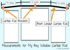 Need inexpensive window treatments? Make DIY Bay Window Curtain Rods! Simple curtain rods made with easy to find hardware store supplies. Diy Bay Window Curtains, Cheap Curtains, How To Make Curtains, Kitchen Curtains, Window Blinds, Bay Window Bedroom, Bay Window Decor, Burlap Curtains, Bedroom Curtains