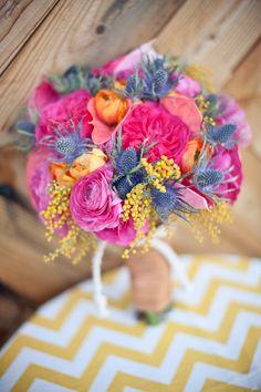 Flores de colores intensos con cardo azul