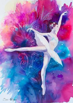 Ballerina watercolor  painting print Fashion by SlaviART on Etsy- ballet dance- decor art
