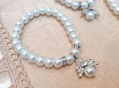 12 White Stretchy Bracelets Baptism 1st Communion wedding party favors Recuerdos #baptismcommunionwedding
