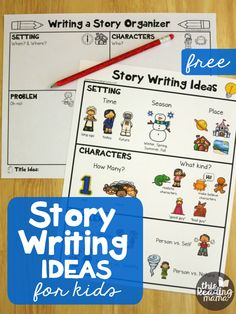 Story Writing Ideas for Kids {FREE Pack} – This Reading Mama Story Writing Ideas for Kids – Free Printable Pack – This Reading Mama Writing Prompts For Kids, Kids Writing, Writing Resources, Writing Activities, Writing Skills, Story Writing Ideas, Creative Writing For Kids, Writing Table, Story Prompts