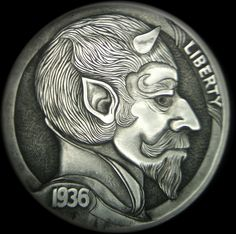DeChristo - Devil - Hobo Nickel #8 - 1936 BUFFALO NICKEL