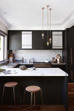 black-kitchen-brass-pendant-lights-marble-bench-top-delmar-home-oct14