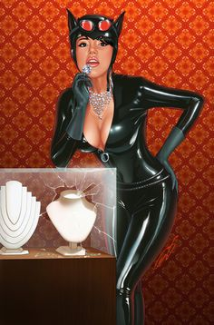 Catwoman goes window shopping.