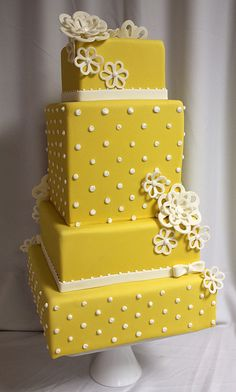 Yellow dot wedding cake med | Flickr - Photo Sharing!