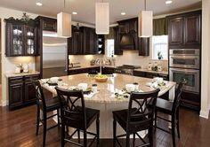 Home Remodeling Modern Wonderful Unique Ideas: Kitchen Remodel Countertops Hardware kitchen remodel design dining rooms. Studio Kitchen, Kitchen Redo, New Kitchen, Kitchen Ideas, Ranch Kitchen, 1950s Kitchen, Kitchen Layout, Kitchen Island Shapes, Curved Kitchen Island