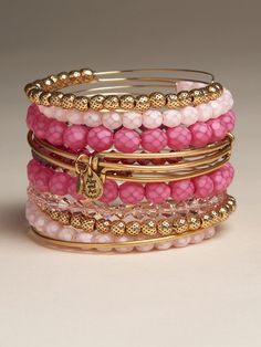 Pink Beaded Bangle - The Ani & Alex jewelry that's been catching on - Very boho chic - Very cute