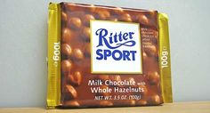 This is one of the best brands of chocolate that are easy to find everywhere. Ritter Sport, Chocolate Brands, Snack Recipes, Snacks, Chocolate Hazelnut, Pop Tarts, Sweet Treats, Milk, Candy