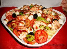 Cinco sentidos na cozinha: Salada fria de massa com camarão, tomate, manjericão e mini- mozzarella