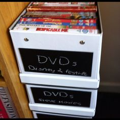 DVD Chalkboard Storage Boxes