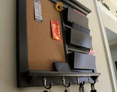 -Office Organizer Home Decor Mail Organizer Family Planner Paper Organzier Storage with Cork Board, Chalkboard, or Dry Erase and key hooks..