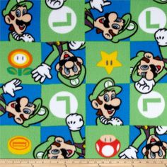 Nintendo Super Mario Fleece Luigi Hands Up Green from @fabricdotcom  Licensed by Nintendo to Springs Creative Products, this polyester fleece is perfect for creating jackets, vests, scarves, mittens, throws and more! Colors include green, blue, black, puprle, yellow, orange, red, white, natural and brown.
