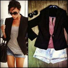 Get inspired by Victoria Beckham! Wear this cool black blazer $48, Levi cut off jean short $69.99, dressy gray top $39.99 & Rayban sunglasses $145 - all available at Tria, shop in store or call 407.732.6971