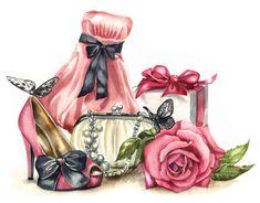 Vintage Pictures, Vintage Images, Vintage Prints, Vintage Art, Lace Bow Tattoos, Decoupage Vintage, Kawaii, Shoe Art, Vintage Labels