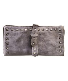 Look what I found on #zulily! Gray Stud Leather Wallet #zulilyfinds