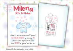 Elephant invitation, Printable invitation for child, Birthday invitation, Jungle party by HappyMomentsDesign on Etsy
