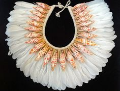Beauty Shell Necklace Women Fashion White Feather by ubudexotica