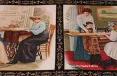 FABRIC SINGER SEWING Machines Antique by DorothyPrudieFabrics