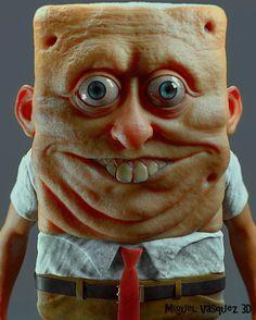 アニメだとかわいいのに… スポンジ・ボブの立体フィギュアが怖すぎる