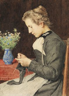 Knitting Young Woman with a bouquet of flowers by Albert Anker (1903)