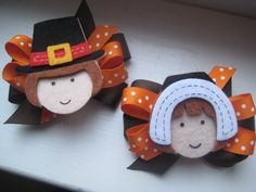 images of hair bows for little girls | Thanksgiving Hair Bow -Boy/Girl Pilgrim Bows- Toddler Hair Bows- Great ...