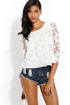 FOREVER 21 Crochet Muse Top is on sale now for - 25 % ! Love the shirt not the shorts... tooo short