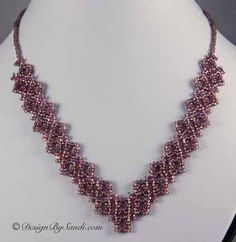 free seed bead necklace patterns | Edwardian Lace Necklace features seed beads. Swarovski Crystal can ...