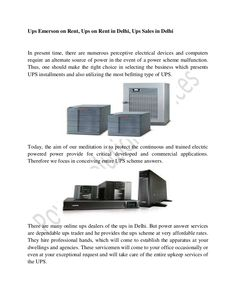 Ups emerson on rent   power solution services by Power Solution Services - UPS on Rent/Hire